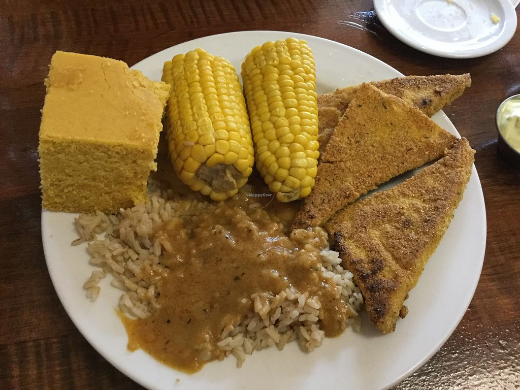 "Photo of Soul Vegetarian - Highland  by <a href=""/members/profile/Julie%20R"">Julie R</a> <br/>I had the fried ""chicken"" platter - soooooo delicious!  Plenty of foof <br/> May 18, 2018  - <a href='/contact/abuse/image/1890/401227'>Report</a>"