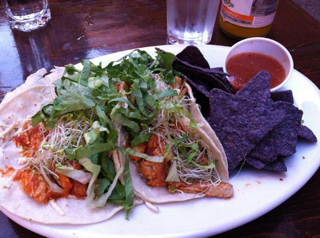 """Photo of Lotus Cafe and Juice Bar  by <a href=""""/members/profile/Meggie%20and%20Ben"""">Meggie and Ben</a> <br/>Mock chicken tacos (vegan) <br/> December 1, 2014  - <a href='/contact/abuse/image/18943/86988'>Report</a>"""