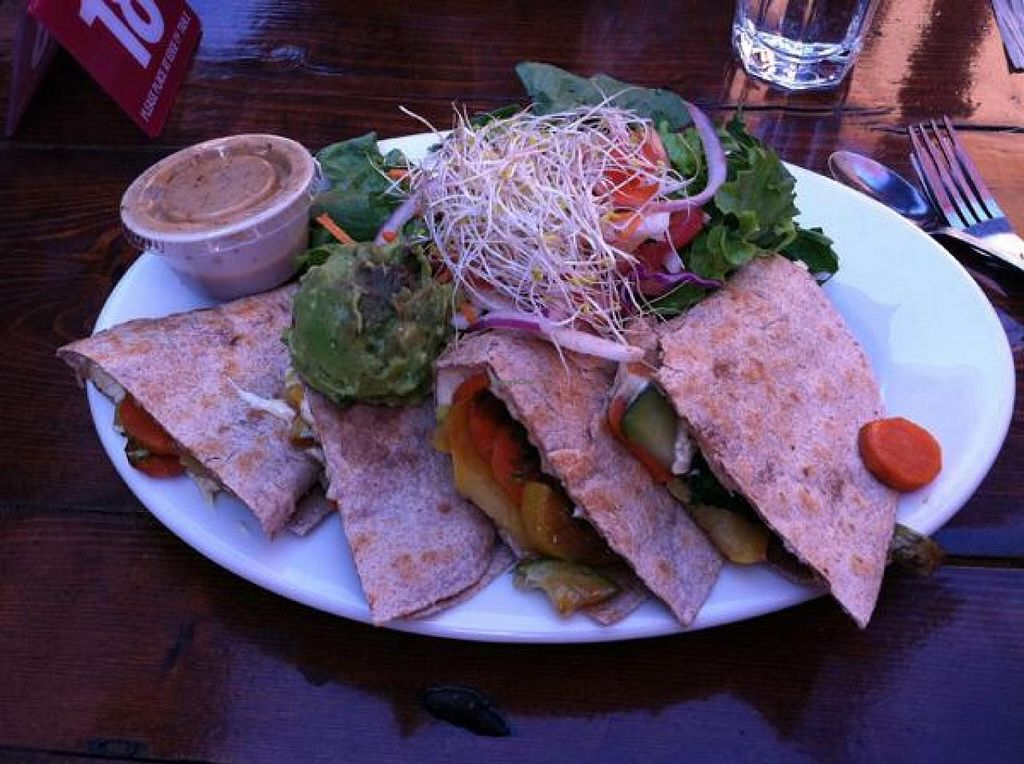 """Photo of Lotus Cafe and Juice Bar  by <a href=""""/members/profile/Meggie%20and%20Ben"""">Meggie and Ben</a> <br/>Ganesh's veggie tacos made vegan <br/> December 1, 2014  - <a href='/contact/abuse/image/18943/86989'>Report</a>"""