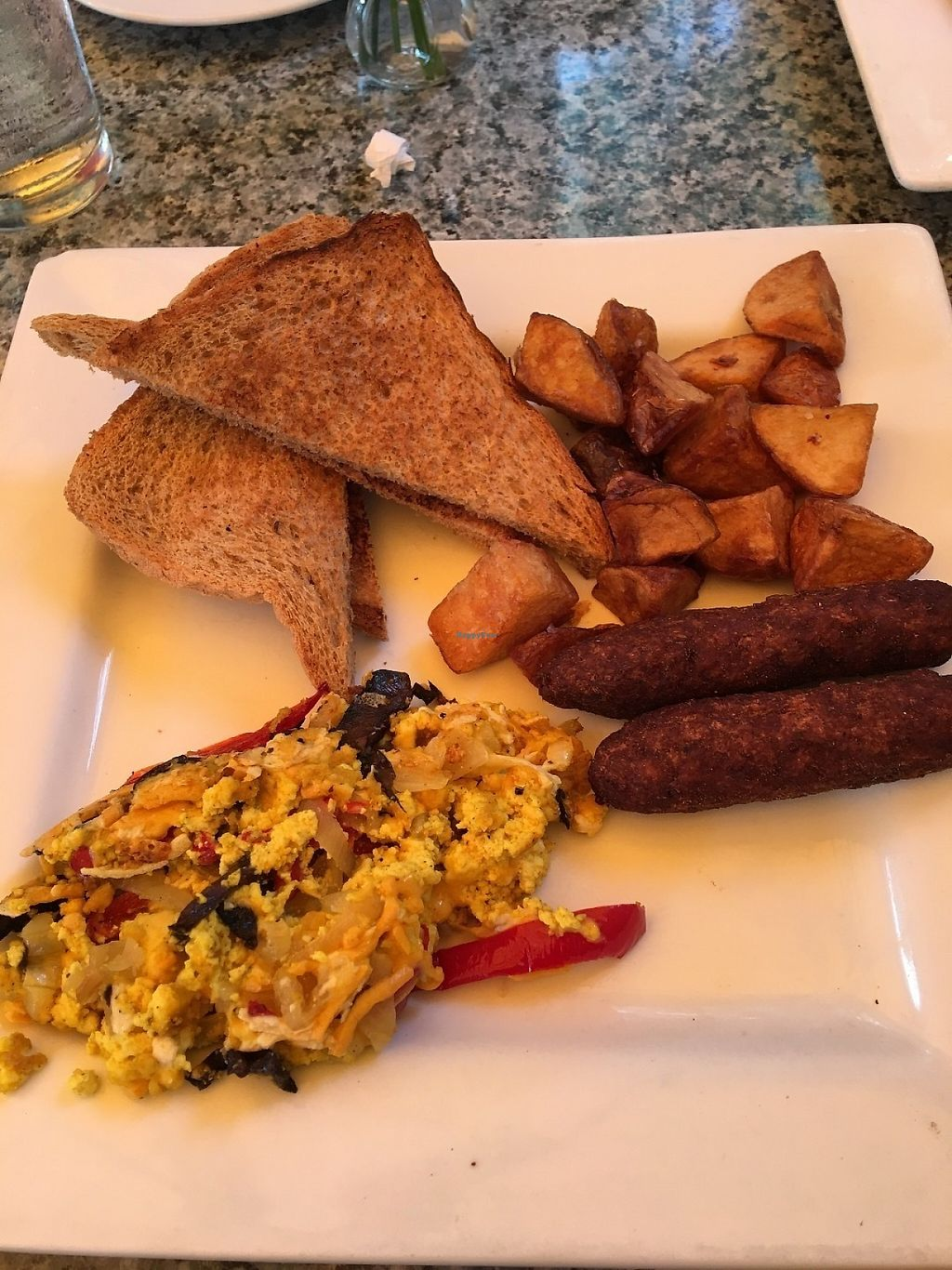 """Photo of Darbster - West Palm Beach  by <a href=""""/members/profile/Phoenix1111"""">Phoenix1111</a> <br/>Tofu scramble, toast and vegan sausage <br/> May 27, 2017  - <a href='/contact/abuse/image/19007/262906'>Report</a>"""