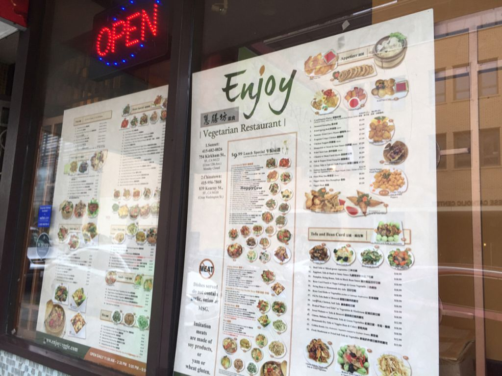 """Photo of Enjoy Vegetarian Restaurant - Financial District  by <a href=""""/members/profile/SavoyTruffle"""">SavoyTruffle</a> <br/>menu in the window <br/> July 19, 2016  - <a href='/contact/abuse/image/19009/160804'>Report</a>"""