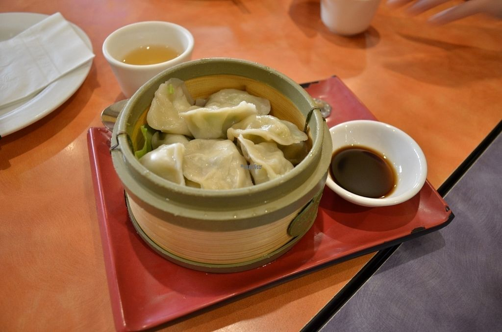 """Photo of Enjoy Vegetarian Restaurant - Financial District  by <a href=""""/members/profile/alexandra_vegan"""">alexandra_vegan</a> <br/>Steamed Dumplings filled with spring onion. Not bad, but not the best I've had <br/> August 2, 2016  - <a href='/contact/abuse/image/19009/164416'>Report</a>"""