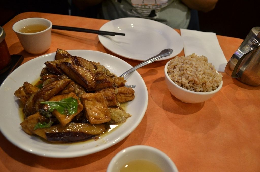 """Photo of Enjoy Vegetarian Restaurant - Financial District  by <a href=""""/members/profile/alexandra_vegan"""">alexandra_vegan</a> <br/>Basil Eggplant Deep Fried Tofu with brown rice <br/> August 2, 2016  - <a href='/contact/abuse/image/19009/164418'>Report</a>"""