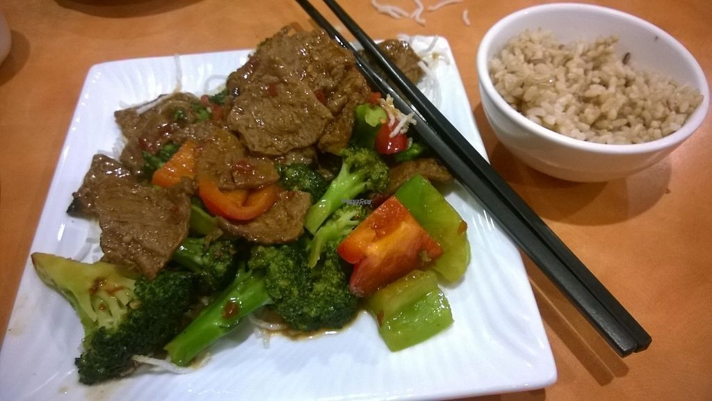 """Photo of Enjoy Vegetarian Restaurant - Financial District  by <a href=""""/members/profile/Vegan%20Victoria"""">Vegan Victoria</a> <br/>Seitan Beef & Broccoli with brown rice <br/> December 31, 2016  - <a href='/contact/abuse/image/19009/206415'>Report</a>"""