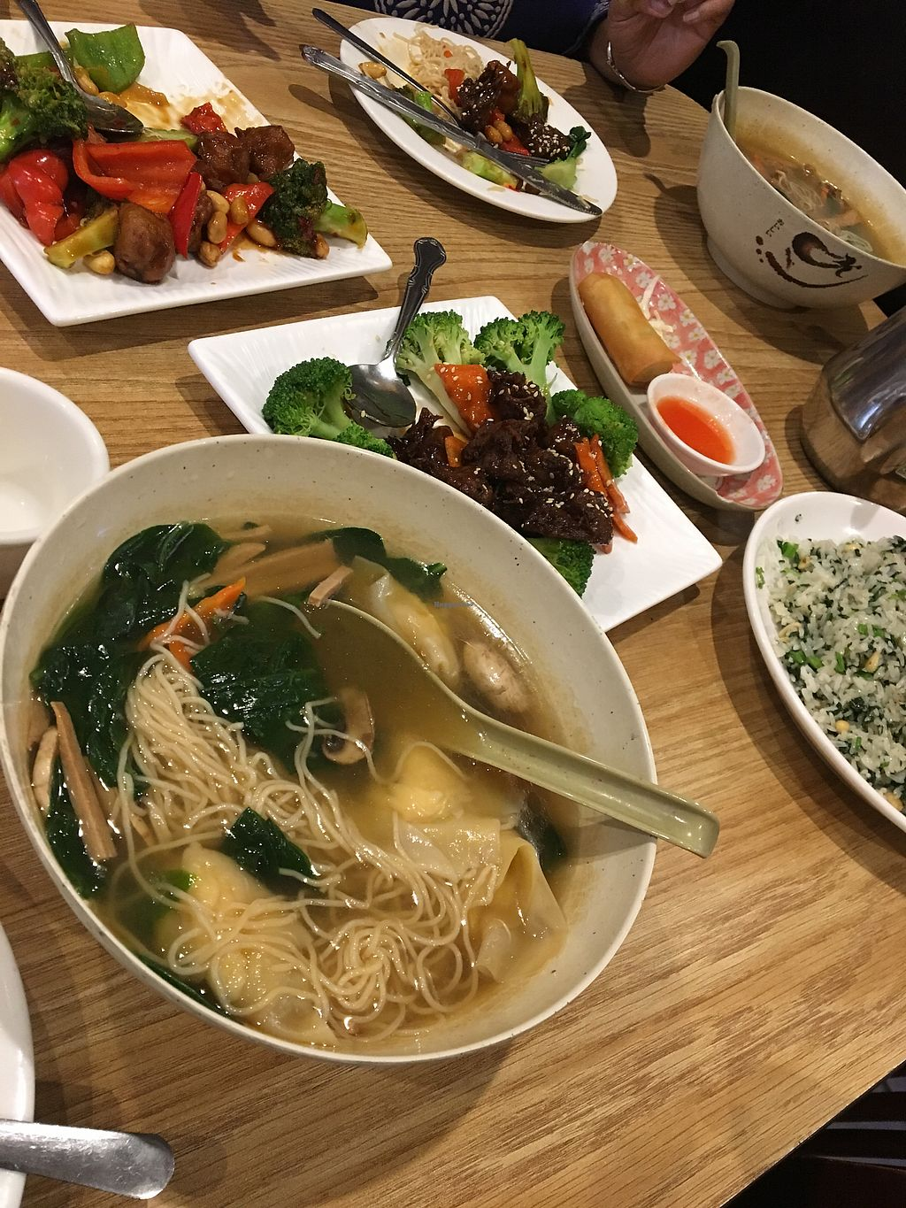 """Photo of Enjoy Vegetarian Restaurant - Financial District  by <a href=""""/members/profile/tylerhebron"""">tylerhebron</a> <br/>Wonton soup, Kung Pao Chicken, Spring Rolls, Spare ribs, and Spinach and pine nut fried rice  <br/> August 8, 2017  - <a href='/contact/abuse/image/19009/290614'>Report</a>"""