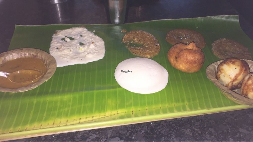 "Photo of Murugan  by <a href=""/members/profile/vegannomad2"">vegannomad2</a> <br/>idli chutneys Sambar on banana leaf <br/> March 21, 2017  - <a href='/contact/abuse/image/19014/239240'>Report</a>"