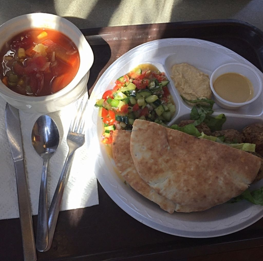 """Photo of Country Life  by <a href=""""/members/profile/veganadvocate"""">veganadvocate</a> <br/>Pita, falafel, veggies, tahini, hummus, vegetable soup <br/> March 11, 2016  - <a href='/contact/abuse/image/1903/198961'>Report</a>"""