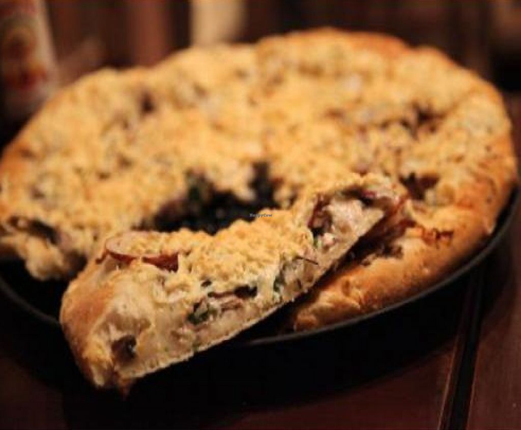 """Photo of Pizza Guru  by <a href=""""/members/profile/quarrygirl"""">quarrygirl</a> <br/>medium pizza with daiya cheese, basil, roasted red potatoes, mushroom blend, and vegan garlic cream sauce <br/> November 30, 2011  - <a href='/contact/abuse/image/19047/190005'>Report</a>"""