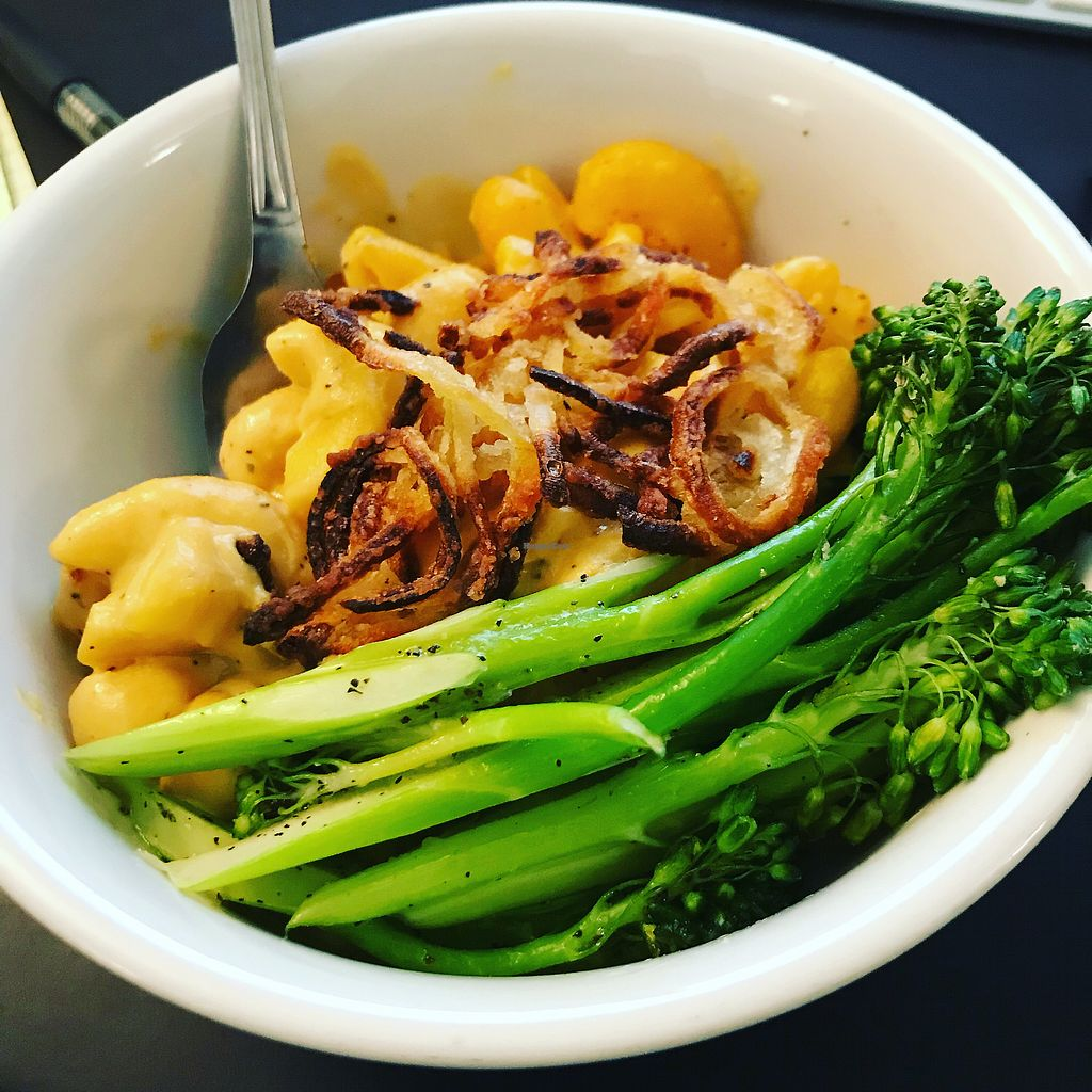 """Photo of Back To Eden Bakery  by <a href=""""/members/profile/AmyBubbles"""">AmyBubbles</a> <br/>Mac & cheese with crispy shallots & roasted broccolini WOW! <br/> January 4, 2018  - <a href='/contact/abuse/image/19063/342749'>Report</a>"""