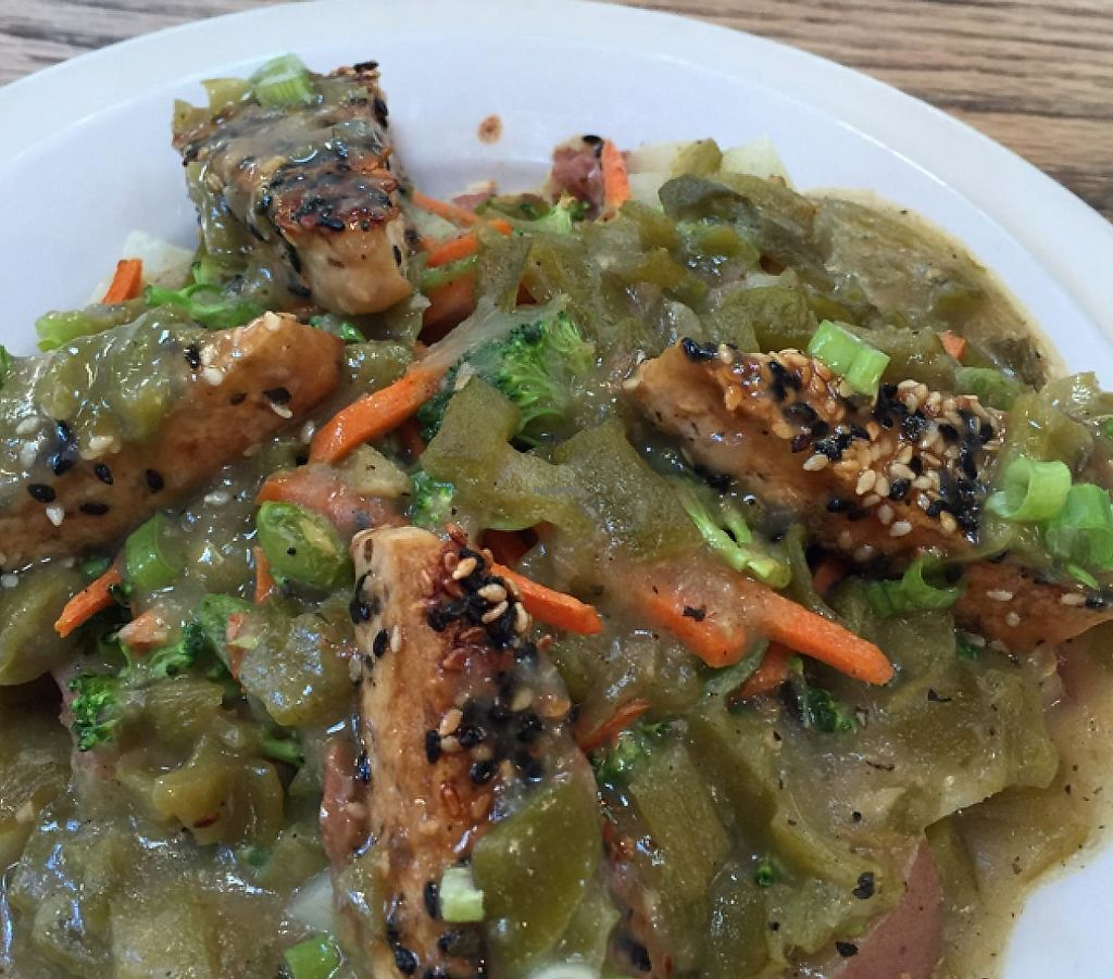 "Photo of Adam's Mountain Cafe  by <a href=""/members/profile/Ellenkm"">Ellenkm</a> <br/>potatoes and sesame tofu with veggies and green chile sauce <br/> July 14, 2015  - <a href='/contact/abuse/image/19147/191112'>Report</a>"