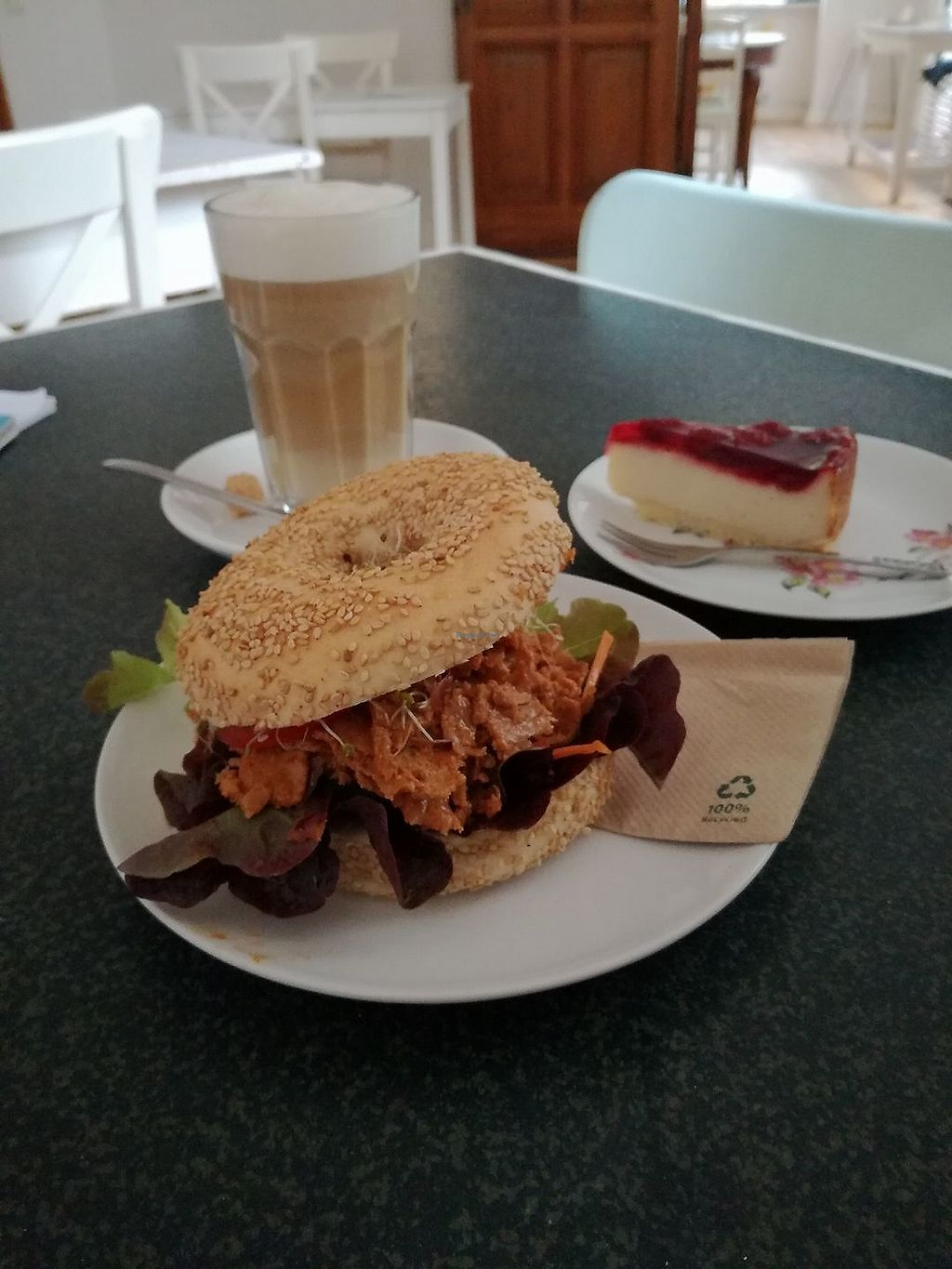 """Photo of Cafe Vux  by <a href=""""/members/profile/ZdeNka"""">ZdeNka</a> <br/>Seitan bagel, raspberry cheesecake and a soy latte (I'm not sure anymore:) <br/> September 10, 2017  - <a href='/contact/abuse/image/19181/302858'>Report</a>"""