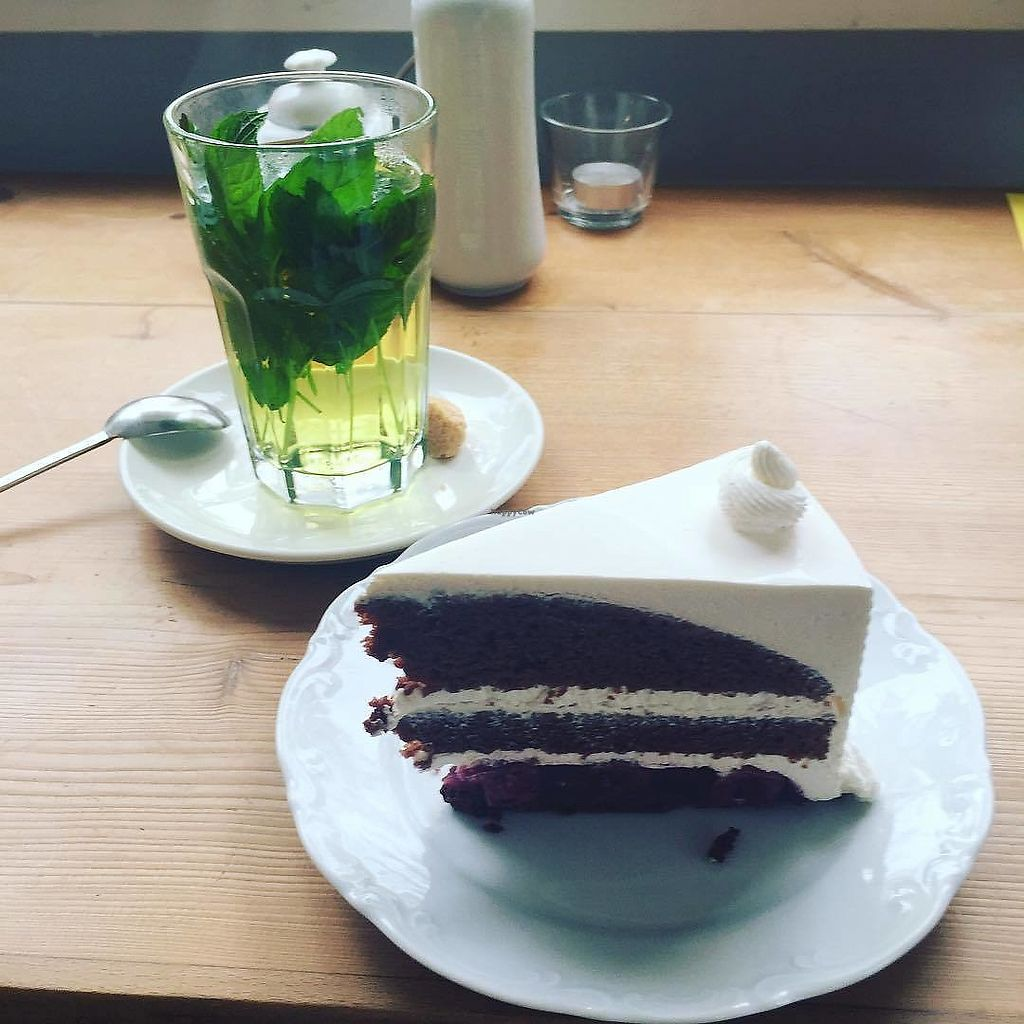 """Photo of Cafe Vux  by <a href=""""/members/profile/LindseyElizabeth"""">LindseyElizabeth</a> <br/>Fresh mint tea & cocoa cherry cake :) <br/> October 16, 2017  - <a href='/contact/abuse/image/19181/315834'>Report</a>"""