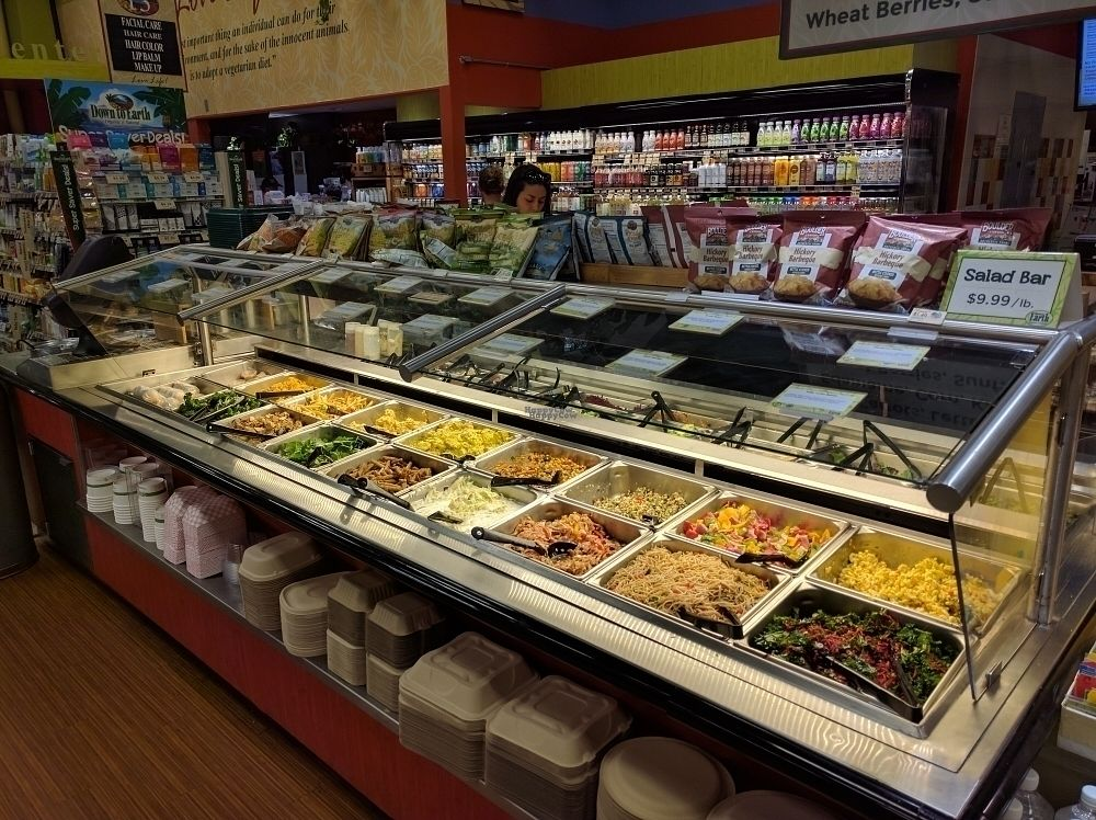 """Photo of Down to Earth Deli Cafe  by <a href=""""/members/profile/mrd"""">mrd</a> <br/>Double sided vegetarian buffet, lots of vegan options <br/> October 23, 2016  - <a href='/contact/abuse/image/1918/183807'>Report</a>"""