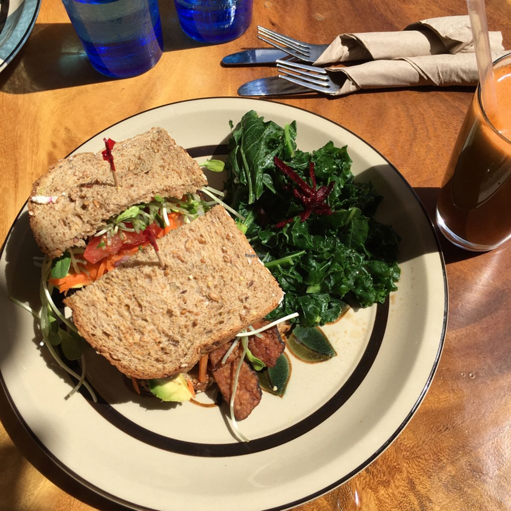 """Photo of The Beet Box Cafe  by <a href=""""/members/profile/Annebumble"""">Annebumble</a> <br/>vegan fakin' bacon sandwich & smoothie <br/> March 13, 2016  - <a href='/contact/abuse/image/1925/139793'>Report</a>"""