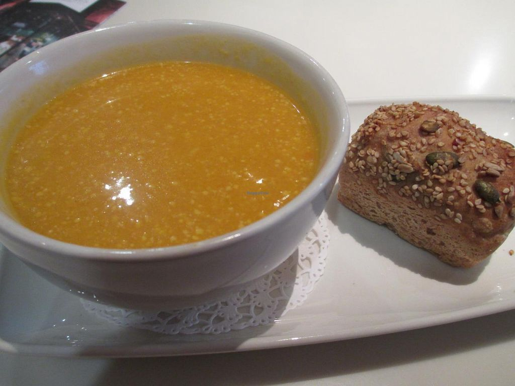 """Photo of Cafe Bowes  by <a href=""""/members/profile/Joyatri"""">Joyatri</a> <br/>Butternut squash, chili and coconut soup with wholemeal roll <br/> January 6, 2014  - <a href='/contact/abuse/image/19295/61893'>Report</a>"""