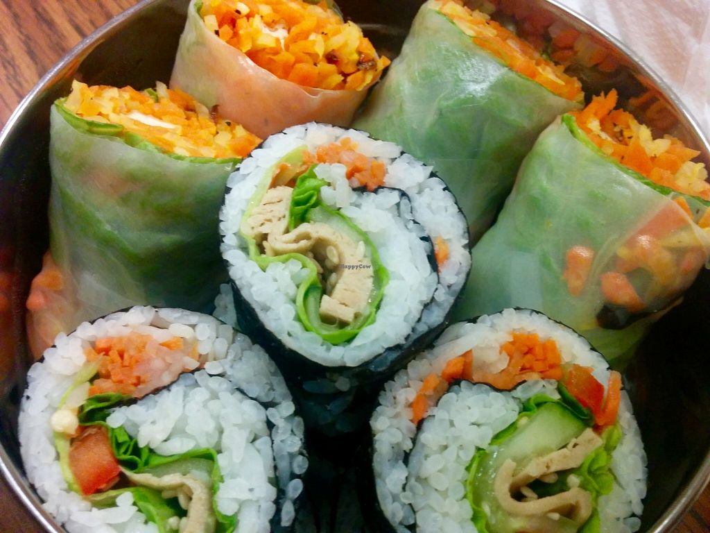 """Photo of Loving Hut - Houston  by <a href=""""/members/profile/MizzB"""">MizzB</a> <br/>Arigato sushi: rice, non-gmo soy, carrots, sesame seed, seaweed, lettuce, cucumbers. Spring rolls: rice paper wraps, jicama, carrots, lettuce, non-gmo tofu, onion, roasted peanuts <br/> February 2, 2016  - <a href='/contact/abuse/image/19306/134694'>Report</a>"""