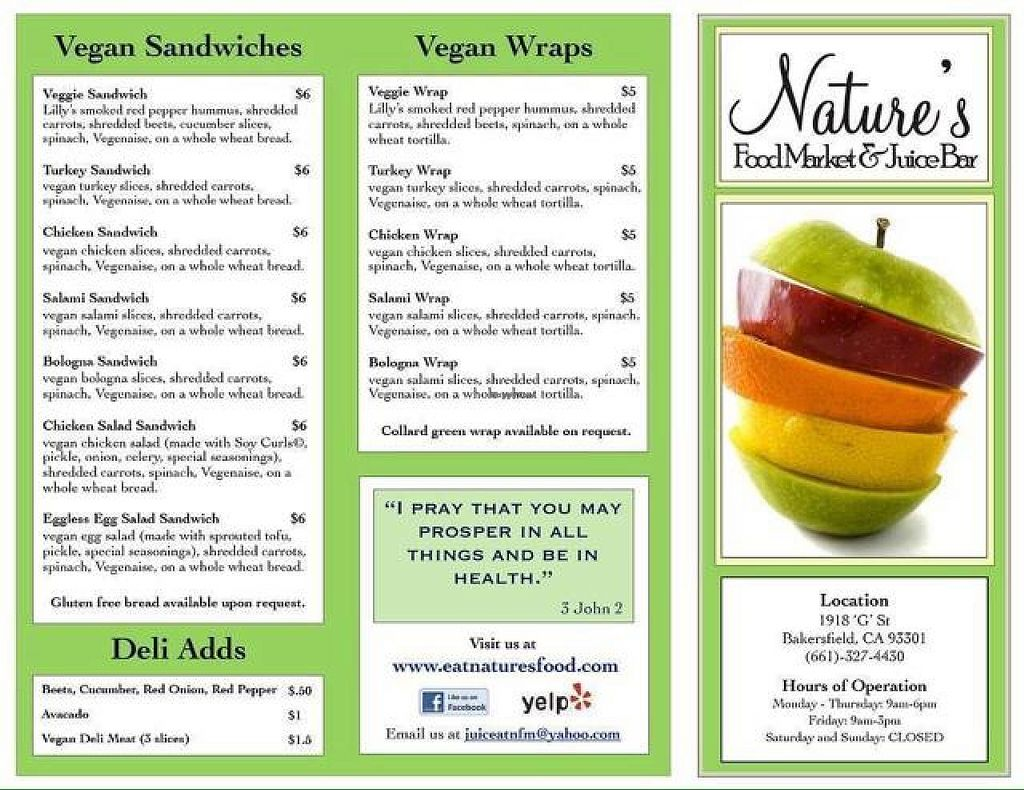 """Photo of Nature's Food Market and Juice Bar  by <a href=""""/members/profile/nessywessy"""">nessywessy</a> <br/>menu <br/> September 21, 2014  - <a href='/contact/abuse/image/19350/80571'>Report</a>"""