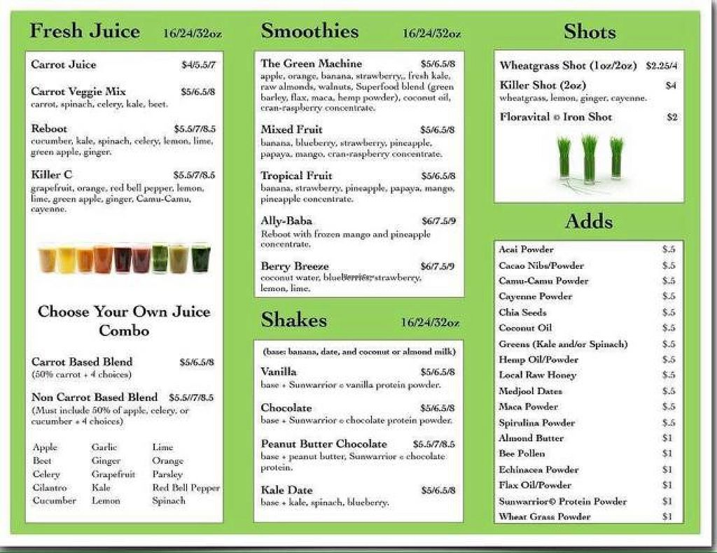 """Photo of Nature's Food Market and Juice Bar  by <a href=""""/members/profile/nessywessy"""">nessywessy</a> <br/>menu <br/> September 21, 2014  - <a href='/contact/abuse/image/19350/80572'>Report</a>"""
