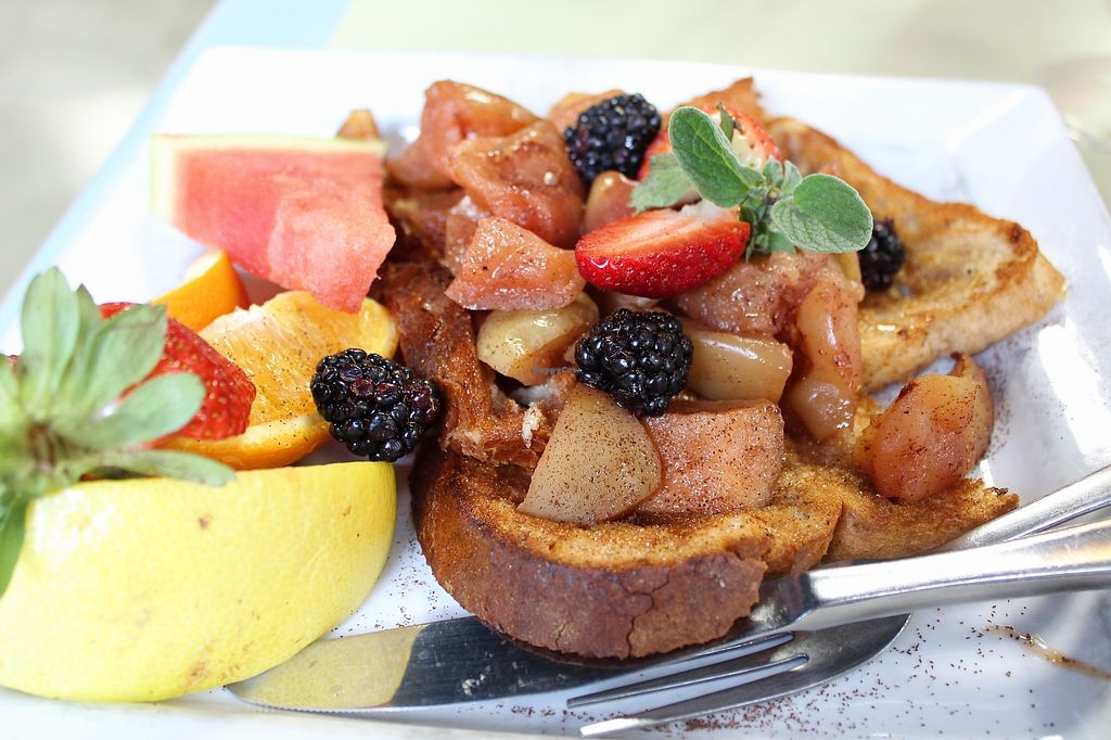 "Photo of Karine's  by <a href=""/members/profile/MSVeganGal"">MSVeganGal</a> <br/>Vegan french toast topped with apple cinnamon <br/> March 7, 2018  - <a href='/contact/abuse/image/19396/367832'>Report</a>"