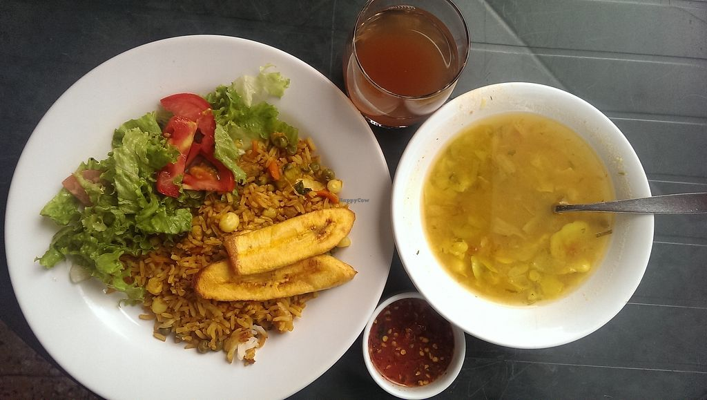 "Photo of Govinda's Vegetariano  by <a href=""/members/profile/koyotesylvie"">koyotesylvie</a> <br/>Daily lunch consisting of bean soup, vegetable rice with tofu and fried bananas, salad, salsa and a tea.  <br/> March 4, 2018  - <a href='/contact/abuse/image/19429/366431'>Report</a>"