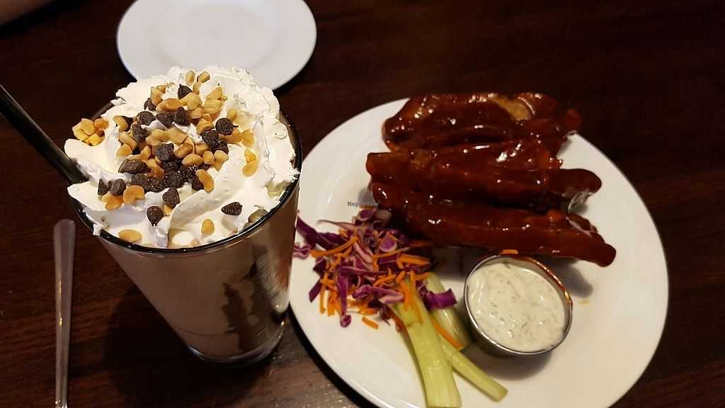 """Photo of The Chicago Diner  by <a href=""""/members/profile/hungryagnes"""">hungryagnes</a> <br/>shake and jackfruit ribs <br/> October 29, 2017  - <a href='/contact/abuse/image/1943/319798'>Report</a>"""