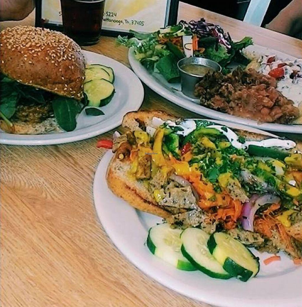 "Photo of Sluggo's North Vegetarian Cafe  by <a href=""/members/profile/TiffanyBinikos"">TiffanyBinikos</a> <br/>Sluggo's North in Chattanooga, TN. Pictured is the Philly Seitan, Teriyaki Veggie Burger, and Sweet Potato Enchiladas.  <br/> July 10, 2016  - <a href='/contact/abuse/image/19466/224688'>Report</a>"