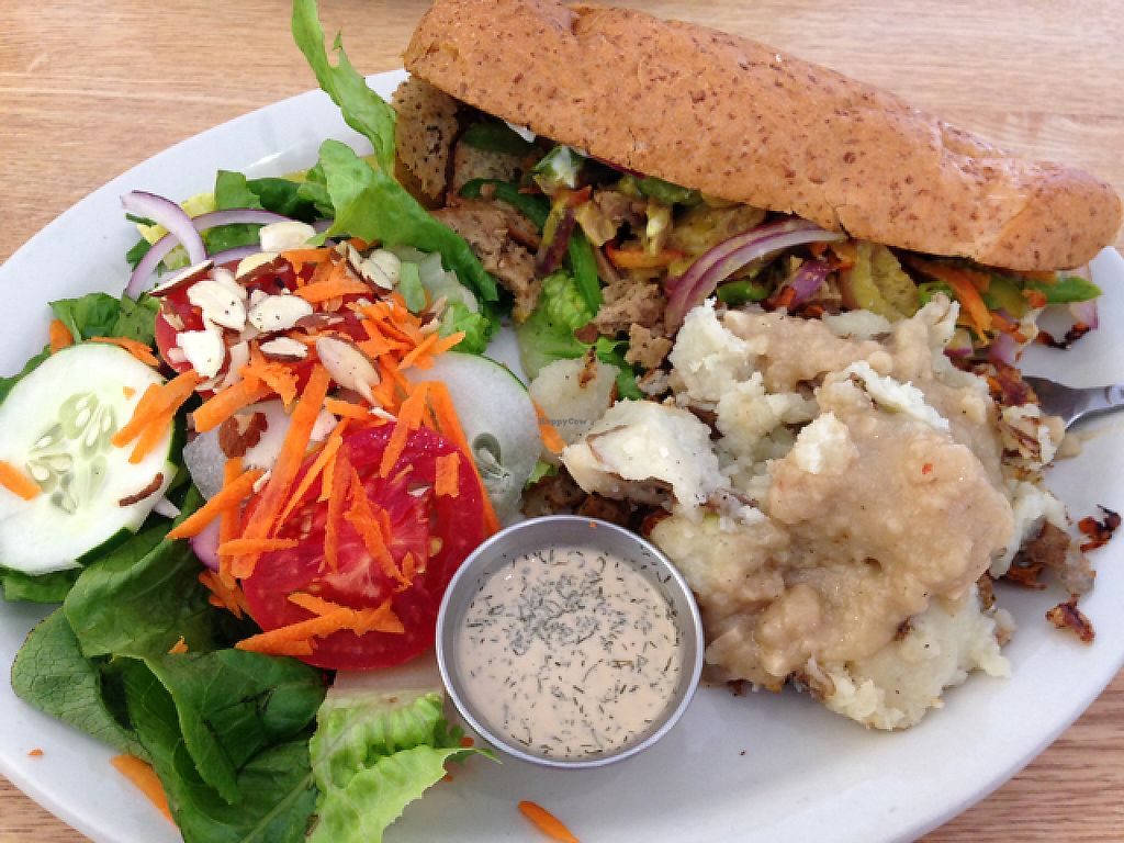 """Photo of Sluggo's North Vegetarian Cafe  by <a href=""""/members/profile/Oscargogh"""">Oscargogh</a> <br/>Philly cheese steak with mashed potatoes and fresh salad <br/> June 6, 2017  - <a href='/contact/abuse/image/19466/266365'>Report</a>"""
