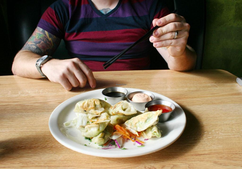 """Photo of Sluggo's North Vegetarian Cafe  by <a href=""""/members/profile/Raesock"""">Raesock</a> <br/>Potstickers! <br/> February 6, 2014  - <a href='/contact/abuse/image/19466/63813'>Report</a>"""