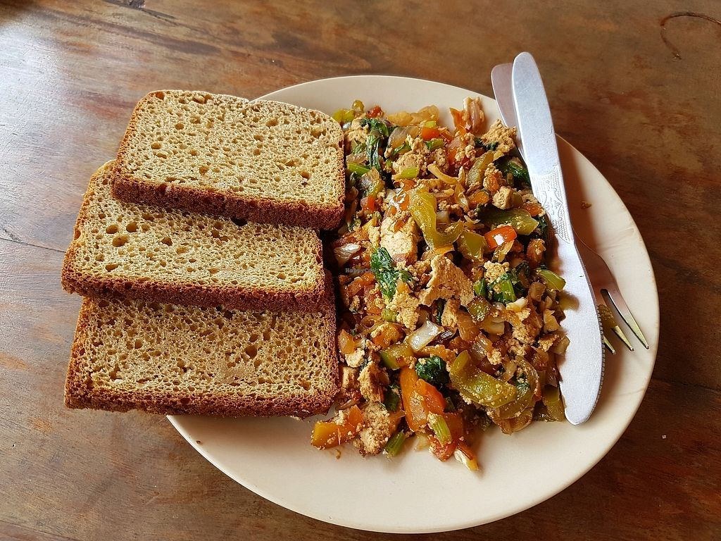 """Photo of Blue Planet  by <a href=""""/members/profile/VeganVic89"""">VeganVic89</a> <br/>Scrambled tofu with veg and homemade brown bread (all vegan) <br/> April 17, 2018  - <a href='/contact/abuse/image/19477/387061'>Report</a>"""