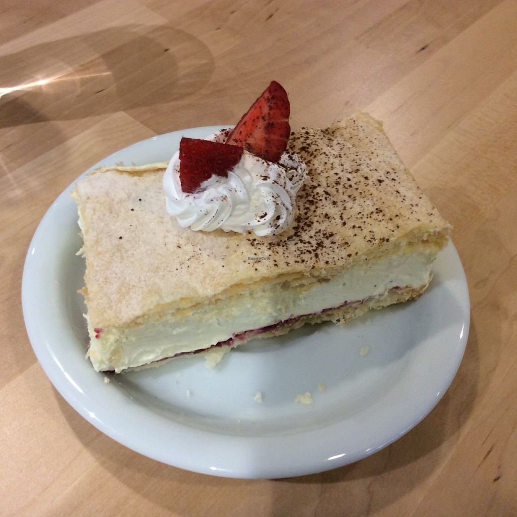 """Photo of Loving Hut - Na Porici  by <a href=""""/members/profile/Amy1274"""">Amy1274</a> <br/>Vegan cream cake <br/> June 28, 2016  - <a href='/contact/abuse/image/19517/156572'>Report</a>"""