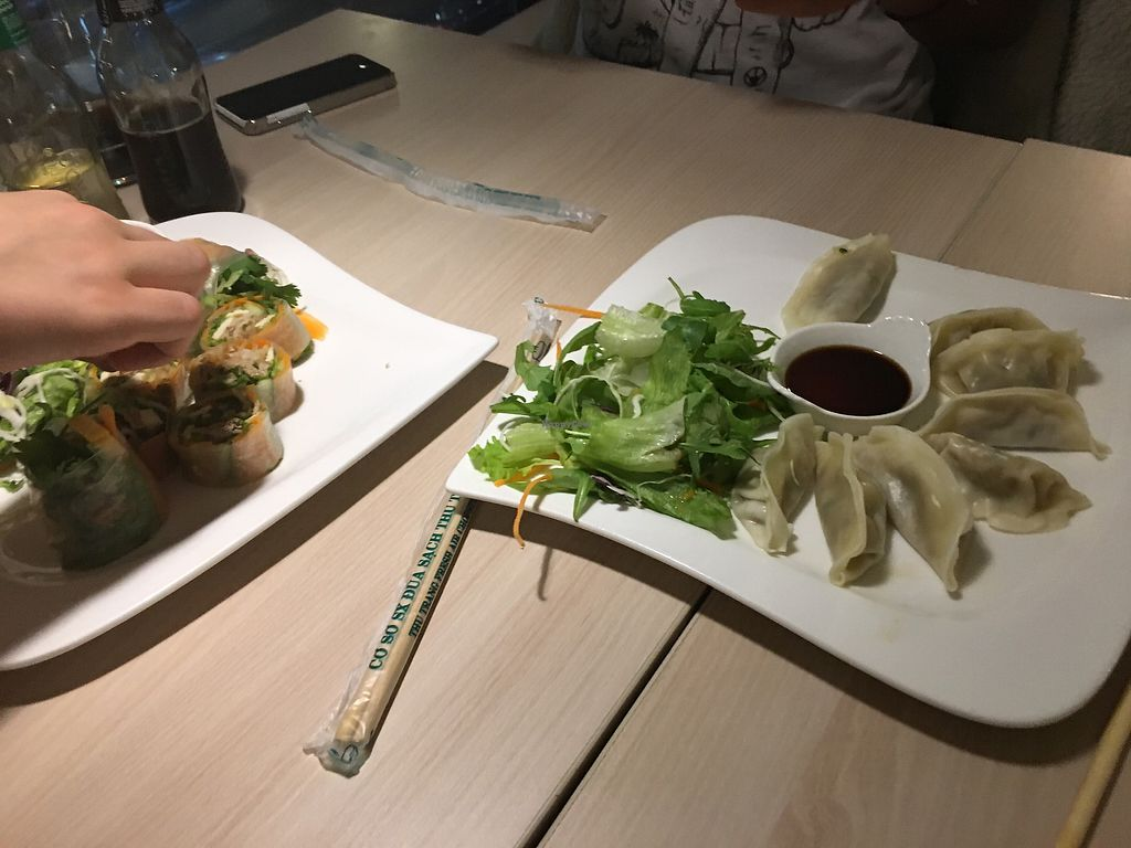"""Photo of Loving Hut - Na Porici  by <a href=""""/members/profile/mariednkr"""">mariednkr</a> <br/>dumplings & summer rolls <br/> September 10, 2017  - <a href='/contact/abuse/image/19517/303022'>Report</a>"""