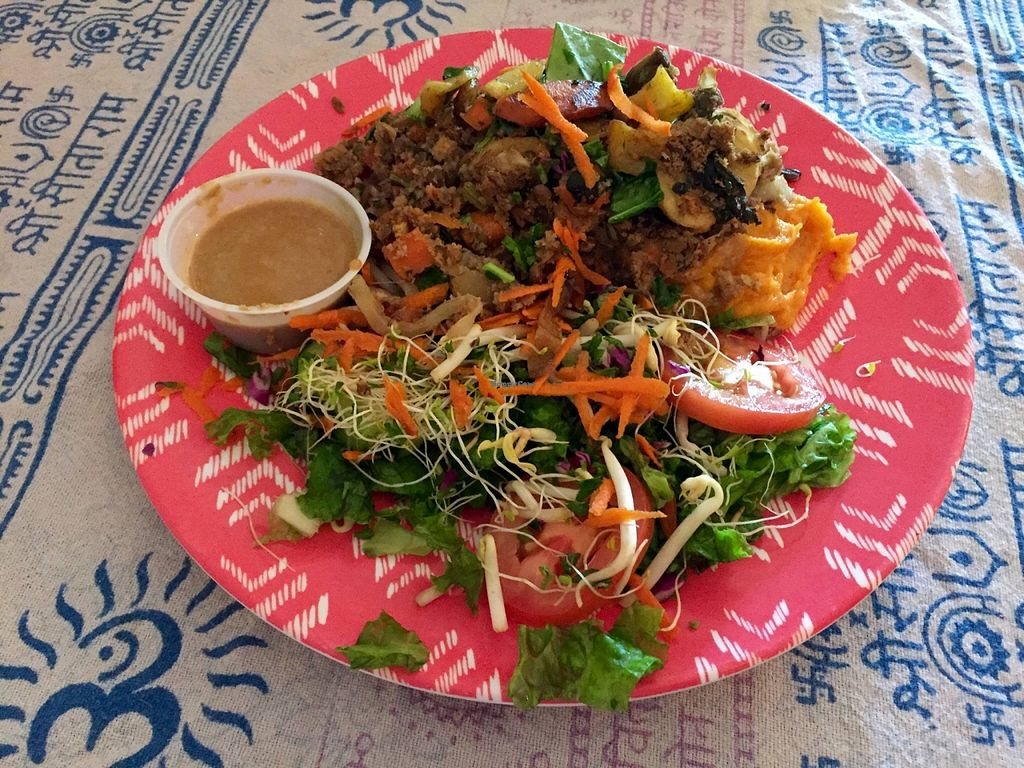 """Photo of Chef Brooke's Natural Cafe  by <a href=""""/members/profile/clovely.vegan"""">clovely.vegan</a> <br/>'Meatloaf' platter <br/> October 22, 2015  - <a href='/contact/abuse/image/19567/122129'>Report</a>"""