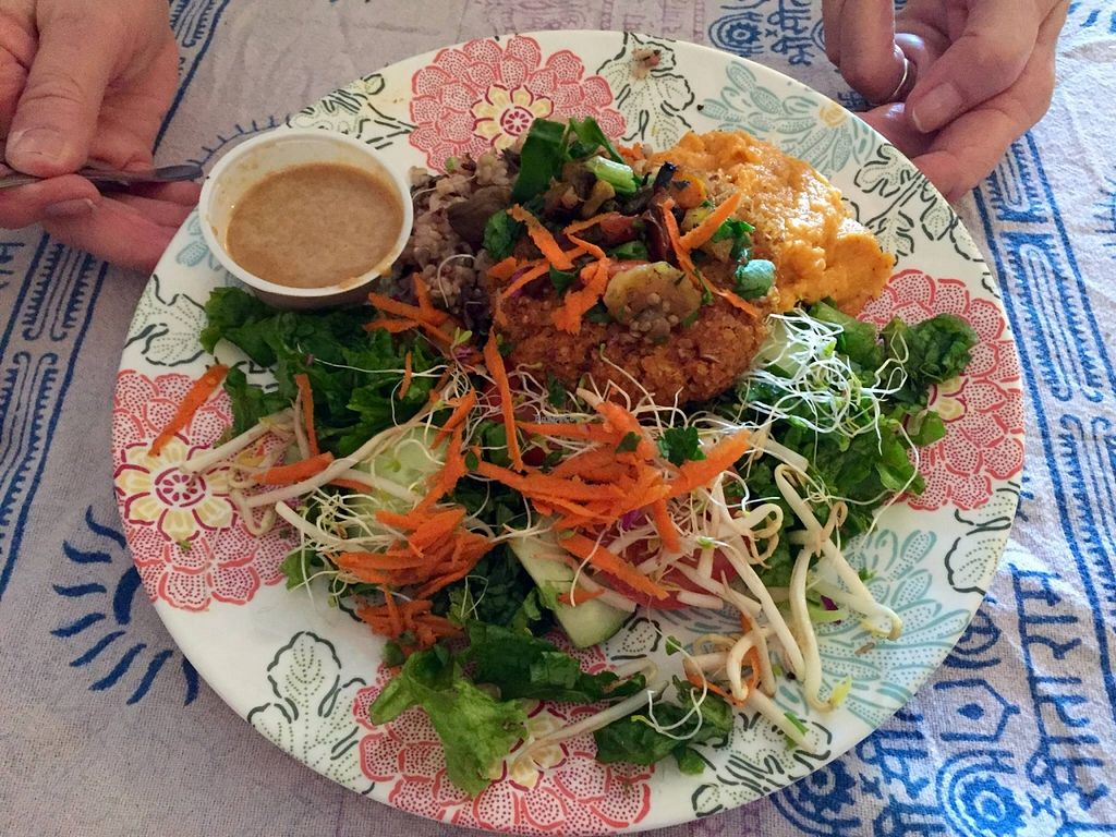 """Photo of Chef Brooke's Natural Cafe  by <a href=""""/members/profile/clovely.vegan"""">clovely.vegan</a> <br/>Sweet potato pecan patty platter <br/> October 22, 2015  - <a href='/contact/abuse/image/19567/122130'>Report</a>"""