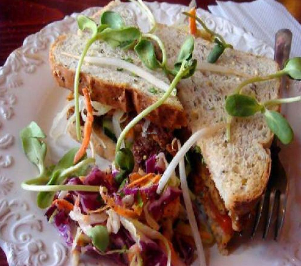 """Photo of Chef Brooke's Natural Cafe  by <a href=""""/members/profile/quarrygirl"""">quarrygirl</a> <br/>Tempeh Reuben: Fresh Marinated Tempeh Served on Health Bread with a Reuben Sauce, Tomatoes, Lettuce, Sprouts, and Cucumbers by kris from veganscraps <br/> December 25, 2011  - <a href='/contact/abuse/image/19567/189354'>Report</a>"""