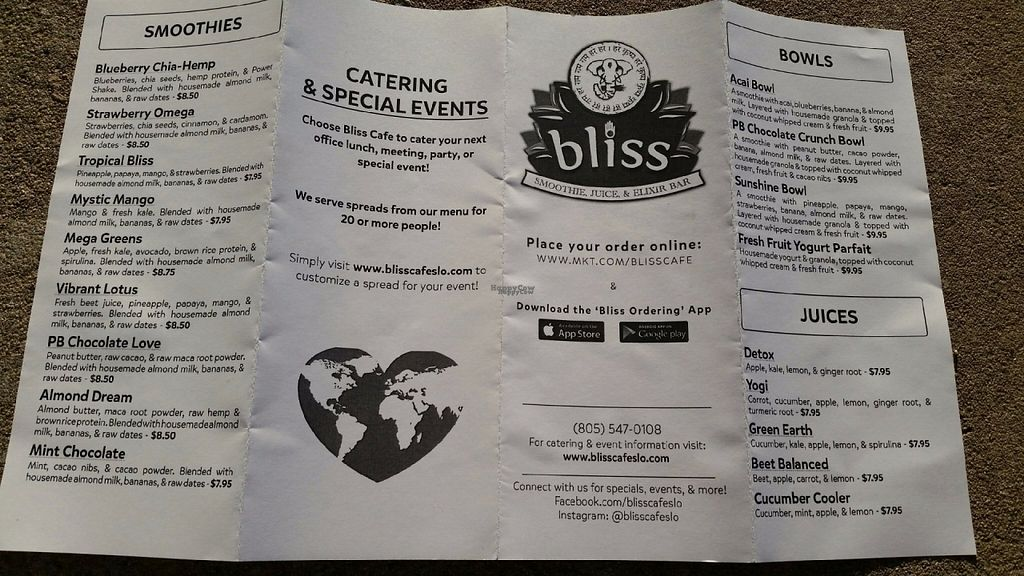 """Photo of Bliss Cafe  by <a href=""""/members/profile/Brenda%20Jauqe"""">Brenda Jauqe</a> <br/>Menu Side B <br/> October 3, 2016  - <a href='/contact/abuse/image/19617/179389'>Report</a>"""
