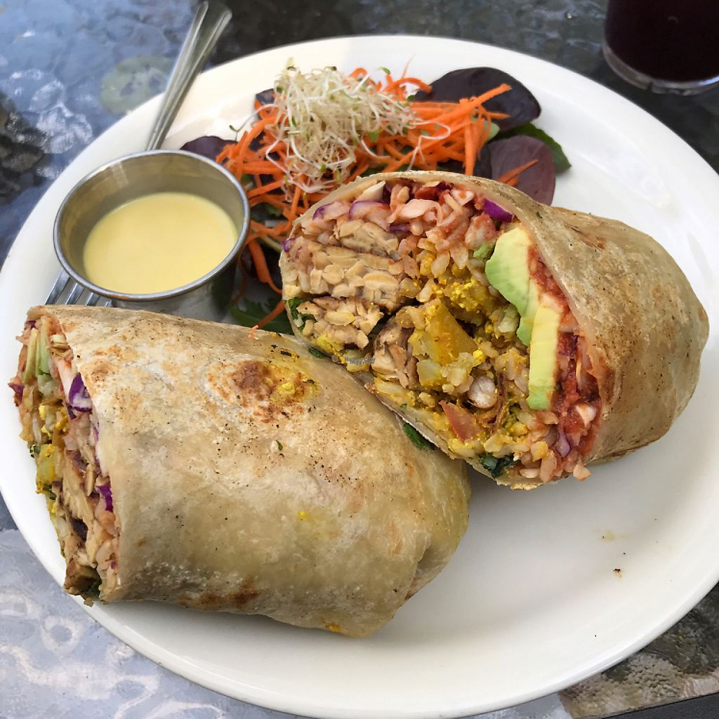 """Photo of Bliss Cafe  by <a href=""""/members/profile/Lanahexapod"""">Lanahexapod</a> <br/>All day breakfast burrito with added tempeh <br/> March 19, 2017  - <a href='/contact/abuse/image/19617/238311'>Report</a>"""