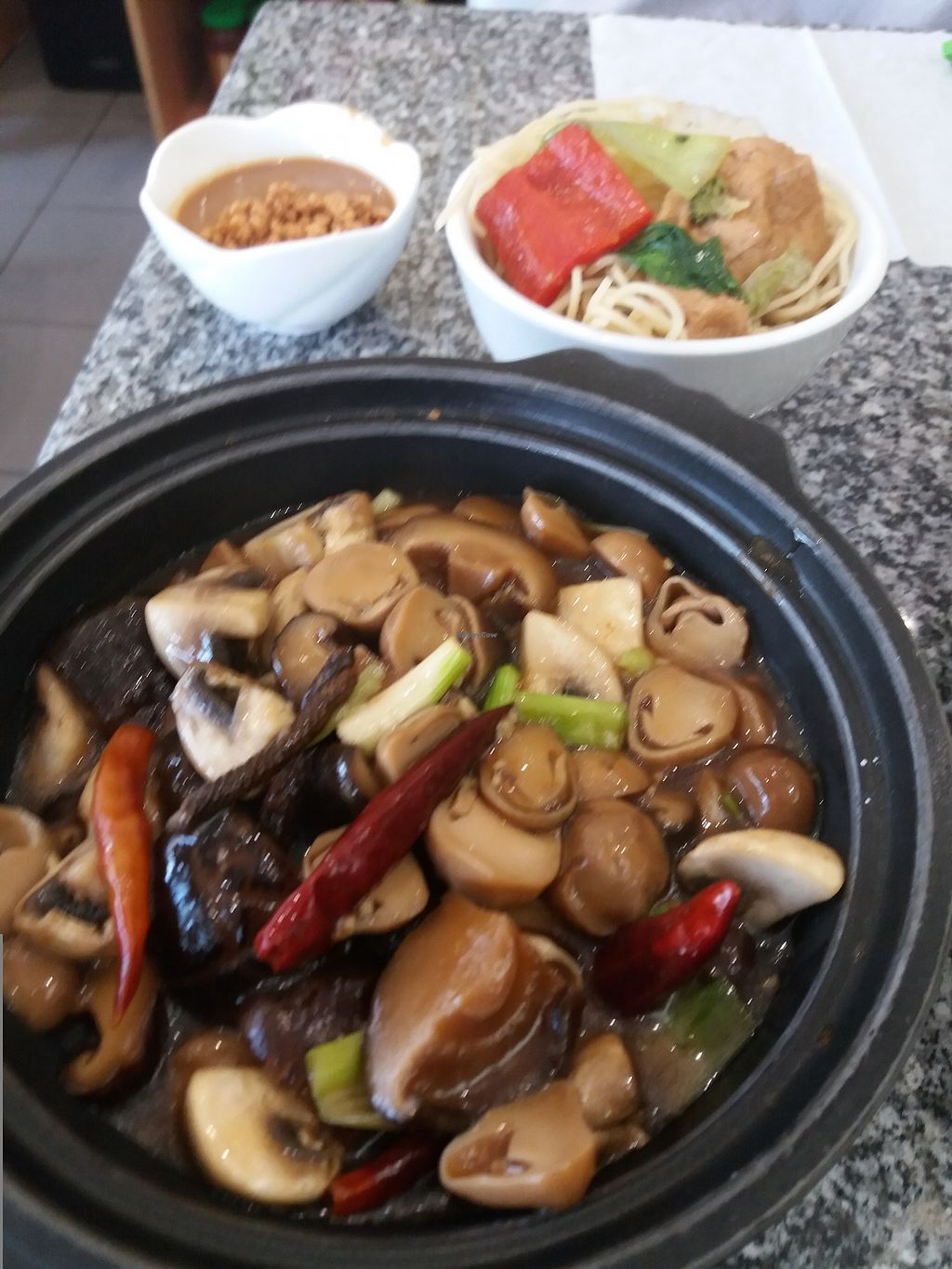 """Photo of Loving Hut - Bankstown  by <a href=""""/members/profile/veganvirtues"""">veganvirtues</a> <br/>Mushrooms in pot <br/> November 10, 2017  - <a href='/contact/abuse/image/19630/323764'>Report</a>"""