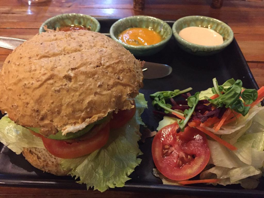 "Photo of Juicy4U  by <a href=""/members/profile/Jrosworld"">Jrosworld</a> <br/>Veggie burger (100 baht) with avocado (20 baht) <br/> January 29, 2015  - <a href='/contact/abuse/image/19633/91628'>Report</a>"