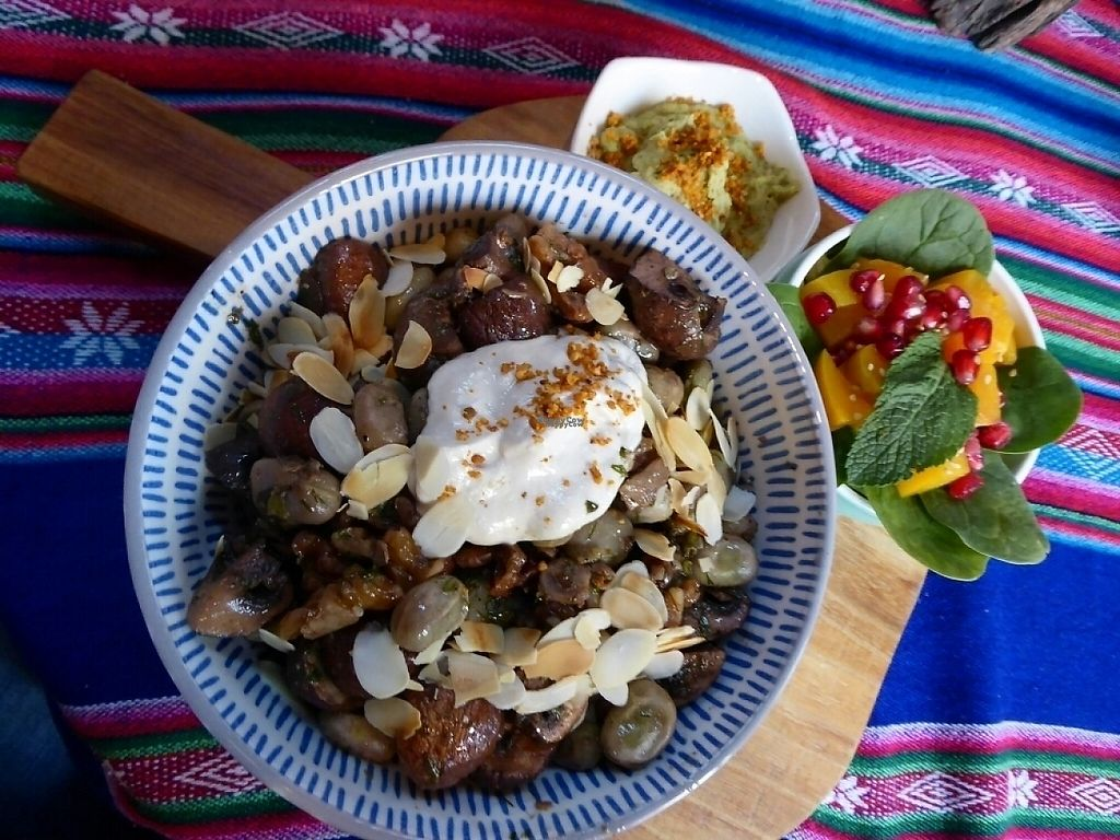 """Photo of Het Paradijs  by <a href=""""/members/profile/v_mdj"""">v_mdj</a> <br/>vegan menu with beans (tuinbonen) and mushrooms <br/> April 24, 2017  - <a href='/contact/abuse/image/19680/252086'>Report</a>"""