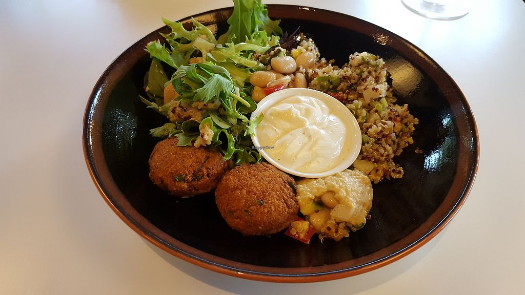 """Photo of Funky Fresh Cafe  by <a href=""""/members/profile/VeganAnnaS"""">VeganAnnaS</a> <br/>Falafel bowl <br/> September 10, 2017  - <a href='/contact/abuse/image/19711/302907'>Report</a>"""