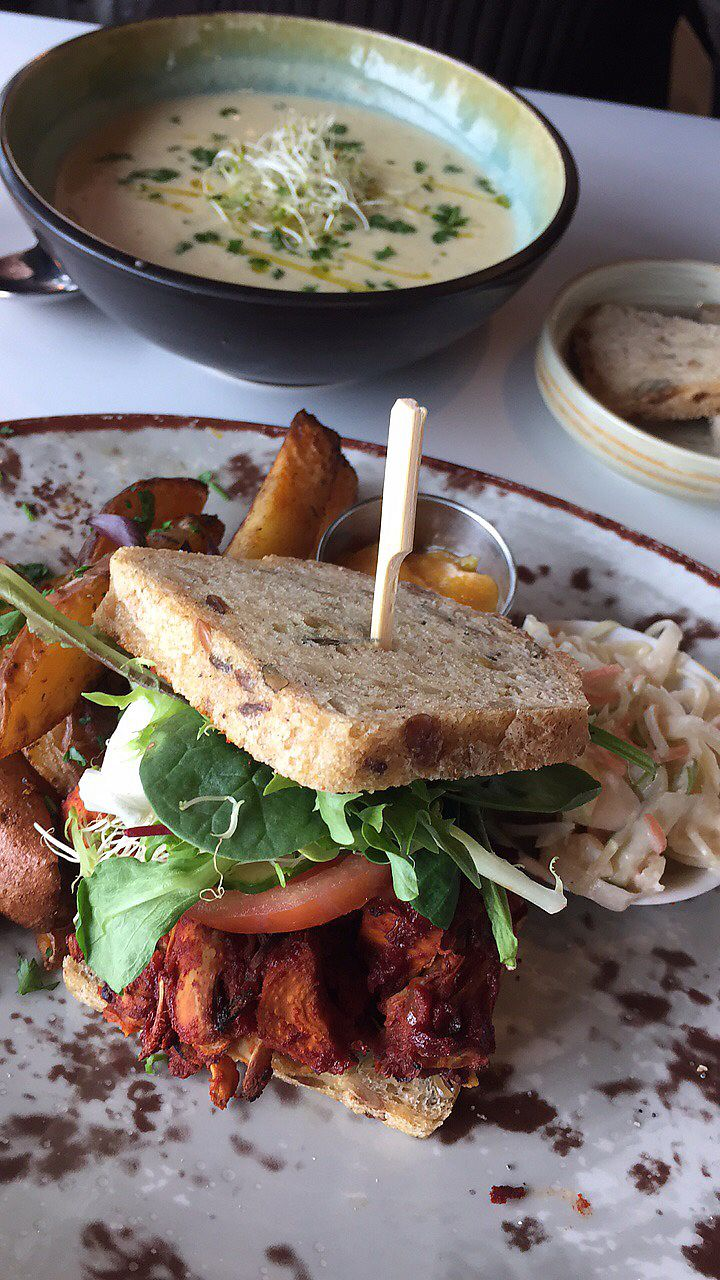"""Photo of Funky Fresh Cafe  by <a href=""""/members/profile/meislnicoline"""">meislnicoline</a> <br/>Soup and a sandwich  <br/> April 14, 2018  - <a href='/contact/abuse/image/19711/385437'>Report</a>"""
