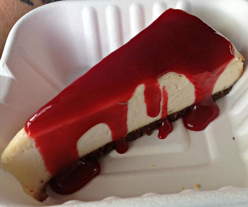 Photo of The Green Owl Cafe  by RamblingVegans <br/>Raspberry Cheesecake <br/> June 7, 2014  - <a href='/contact/abuse/image/19743/71588'>Report</a>