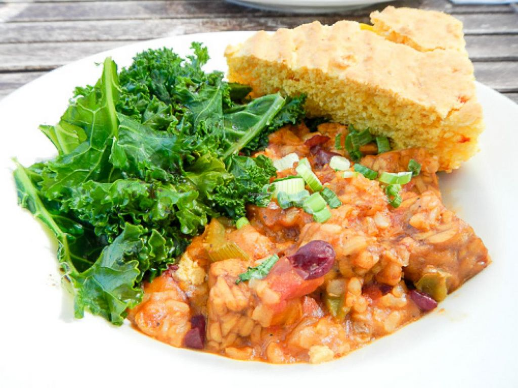 """Photo of The Green Owl Cafe  by <a href=""""/members/profile/EverydayTastiness"""">EverydayTastiness</a> <br/>Jamabalaya with cornbread and kale <br/> April 19, 2015  - <a href='/contact/abuse/image/19743/99566'>Report</a>"""
