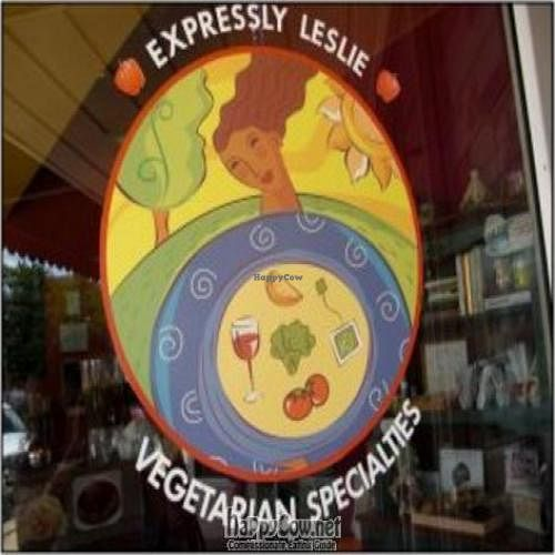 """Photo of Expressly Leslie Vegetarian Specialties  by <a href=""""/members/profile/LeslieCook%28s%29"""">LeslieCook(s)</a> <br/>A sight that is becoming familiar to Woodstock residents -- the Expressly Leslie logo in the window on the southwest corner of the Square <br/> February 14, 2011  - <a href='/contact/abuse/image/19757/7414'>Report</a>"""
