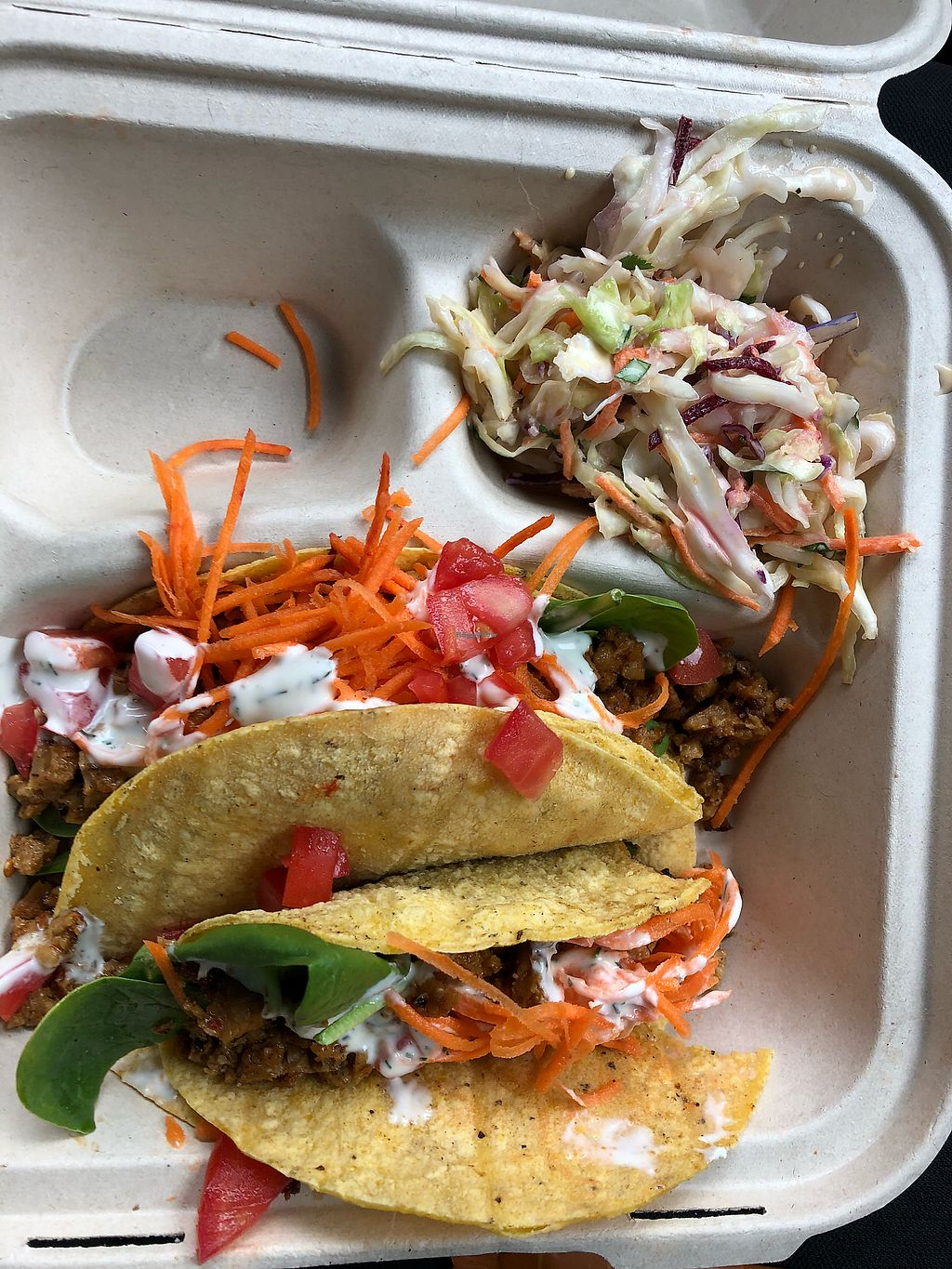 """Photo of The Wild Cow  by <a href=""""/members/profile/Awake1234"""">Awake1234</a> <br/>Delicious Vegan Chipotle Seitan Tacos - to go <br/> April 16, 2018  - <a href='/contact/abuse/image/19759/386898'>Report</a>"""