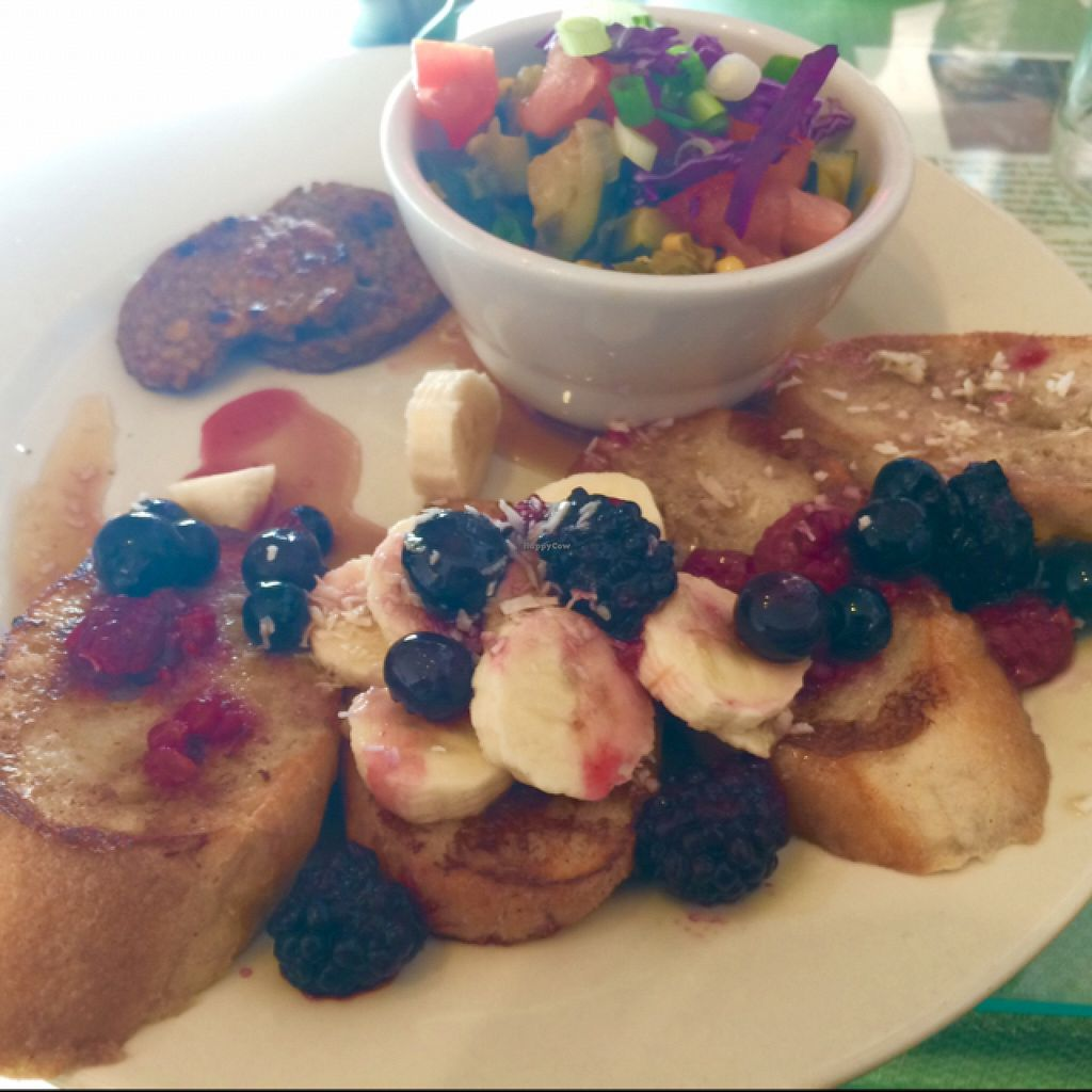 """Photo of Morning Glory Cafe  by <a href=""""/members/profile/StingRey"""">StingRey</a> <br/>Vegan Coconut French Toast on Sunday Morning. Sooo good! Guilt & Cruelty Free to boot. Love me some Mo'Glo! <br/> December 6, 2015  - <a href='/contact/abuse/image/19776/127402'>Report</a>"""