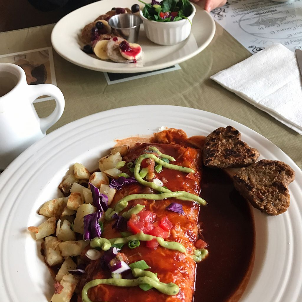 """Photo of Morning Glory Cafe  by <a href=""""/members/profile/Raina11"""">Raina11</a> <br/>breakfast burro and blue corn pancakes  <br/> February 12, 2017  - <a href='/contact/abuse/image/19776/225954'>Report</a>"""