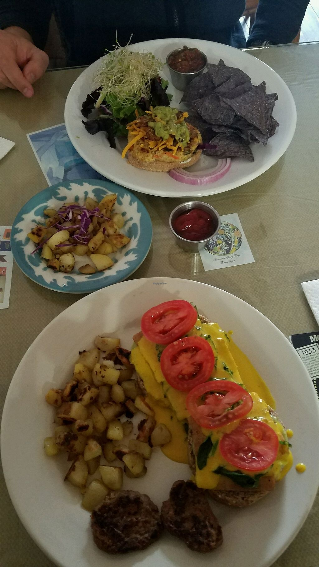 """Photo of Morning Glory Cafe  by <a href=""""/members/profile/KendraDeanne"""">KendraDeanne</a> <br/>Vegan Benedict and Hemp Burger  <br/> January 20, 2018  - <a href='/contact/abuse/image/19776/349064'>Report</a>"""