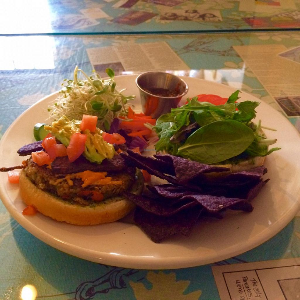 """Photo of Morning Glory Cafe  by <a href=""""/members/profile/StingRey"""">StingRey</a> <br/>Deluxe Hemp Burger with Avocado and vegan Tempeh 'Bacon'.  Just when you thought their Hemp Burger couldn't get any better, they take it up to another level.  So Delicious! <br/> February 9, 2015  - <a href='/contact/abuse/image/19776/92654'>Report</a>"""