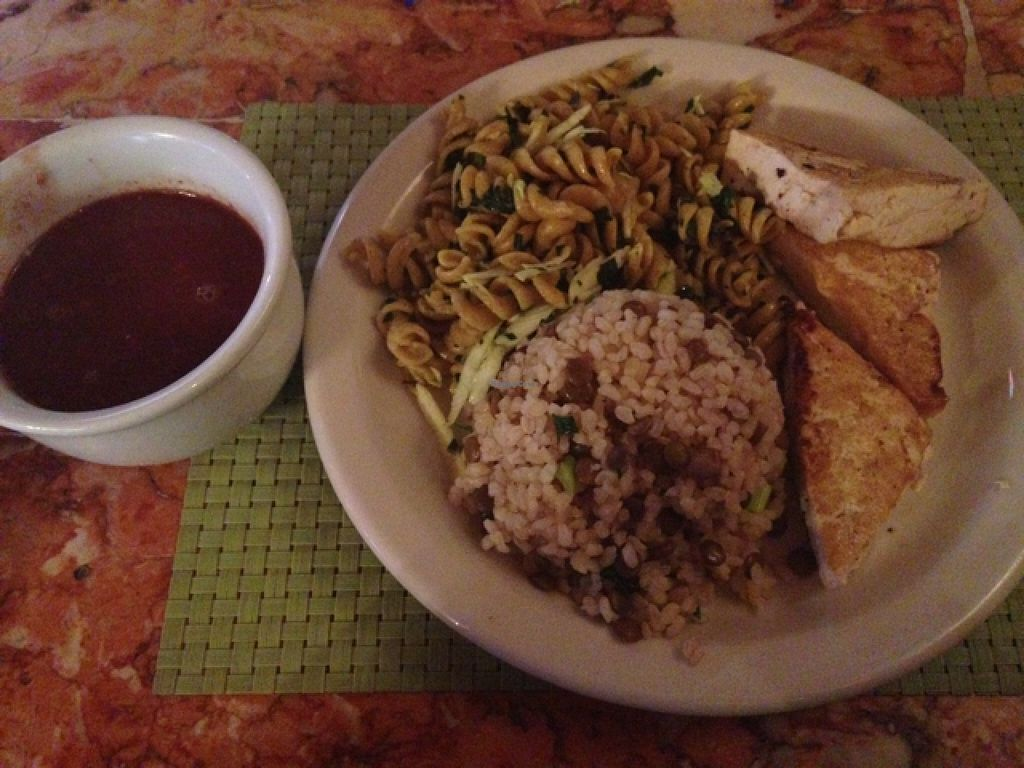 """Photo of Refeitorio Organico  by <a href=""""/members/profile/nardanddee"""">nardanddee</a> <br/>beans, pasta, rice w/lentils and grilled tofu <br/> December 29, 2015  - <a href='/contact/abuse/image/19852/130228'>Report</a>"""